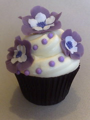 Purple & Pearl Cuppie (SmallThingsIced) Tags: flowers purple pearls sugar diamond buttercream cachous