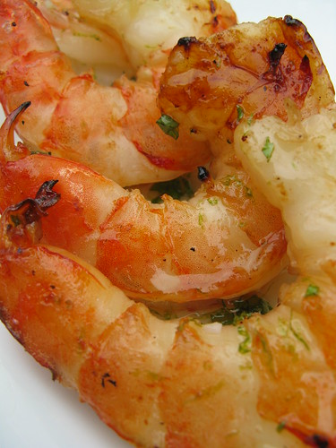 Grilled Shrimp in a Honey, Lime & Mint Glaze