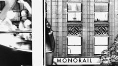 MONORAIL (striatic) Tags: seattle blackandwhite bw buildings washington video downtown day outdoor edited unitedstatesofamerica monorail solarized westlakecenter fastmotion
