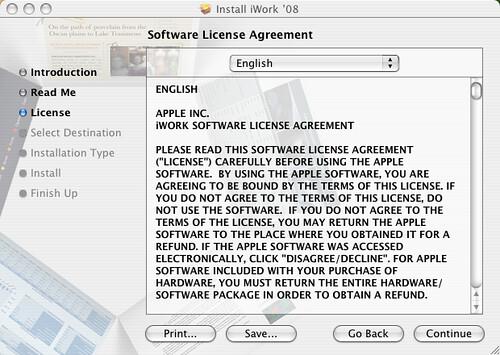 iWork License Screen
