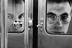 Big Brothers (marc do) Tags: street city portrait people urban blackandwhite bw paris france blancoynegro face writing underground subway fun glasses photo md funny europe do noiretblanc metro streetphotography social humour nb bn sw schwarzweiss biancoenero marcdo marcde