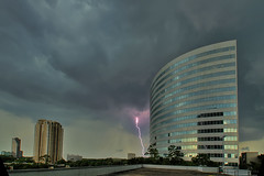 Hell is about to break loose on 610 (baldheretic) Tags: storm rain architecture houston lightning hdr houstonist 1118mm sal1118 visiongroup minoltaamount top20texas bestoftexas texasthunderstorms vision100