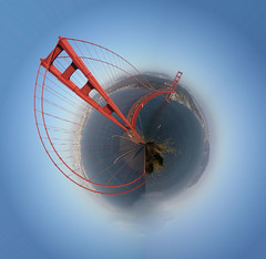Golden Gate Bridge Mini-World (olasis) Tags: world sanfrancisco california bridge photoshop treasure suspension engineering landmark mini goldengatebridge goldengate marvel effect suspensionbridge engineer miniworld miniplanet planetoids miniworlds modernmarvel