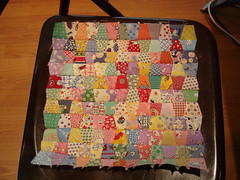 30's doll quilt top before pressing & adding borders