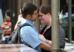 love (Nad) Tags: woman newyork man love couple arms earring backpack lust flagpole embrace padlock plump hold lurv