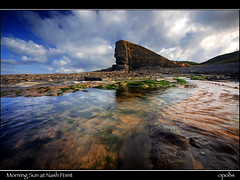 Morning Sun at Nash Point (opobs) Tags: morning sea summer sun seaweed water southwales wales clouds seaside rocks cliffs wfc valeofglamorgan nashpoint impressedbeauty welshflickrcymru elitephotography michaelstokes opobs justhitmewithyourbestshot–6thplacewinneraugust2008photocontest