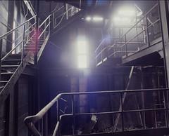 Escaliers mouvants. (reflets de vert) Tags: urban rust decay strasbourg abandon forgotten urbanexploration industrie decayed usine rouille urbain urbex industrialdecay abandonné mamiyarb67 hauntedplace explorationurbaine 5045c industrieabandonnée lieuxabandonnés