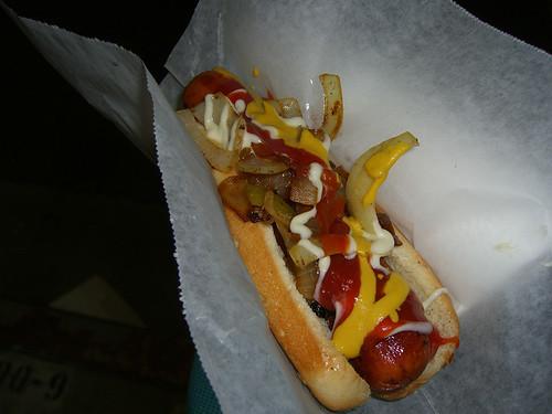 Hotdog wrapped in bacon.