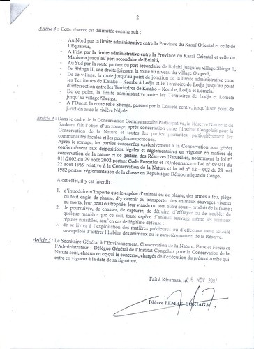 second page of Sankuru Reserve statute