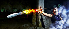 Flaming Knife (drifs) Tags: light boy portrait man men guy fog fire lampe model martial ninja smoke flash knife flame portraiture scream flamme flaming brouillard gars feu brume homme strobe cri garon modele fume couteau ehrhardt coolshot strobist drifs alemdagqualityonlyclub