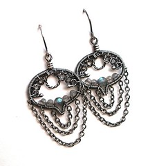 silver labradorite chain earrings
