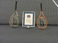 Racquets, ball, counters and certificate (Rossetti Brothers Tennis) Tags: rally tennis longest