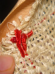 Ending sewed under the ribbon