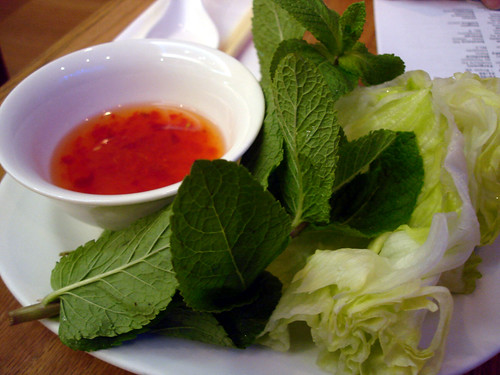 Herbs and Dipping Sauce