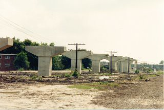 The Chicago Transit Authority's Orange line rapid transit to Midway Airport under construction. Chicago Illinois. May 1990. by Eddie from Chicago