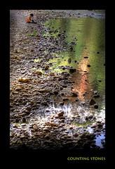 counting stones (Mònica Co) Tags: reflection green nature water río photoshop river ilovenature kid agua huesca peace stones explore niño vero calma hdr aigua reflejos osca piedras verd riu aragón photomatix aragó alquézar mònicaco alemdagqualityonlyclub