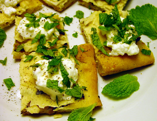 leftover pizza with yogurt and mint
