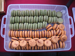 Pistachio and Passion fruit macarons