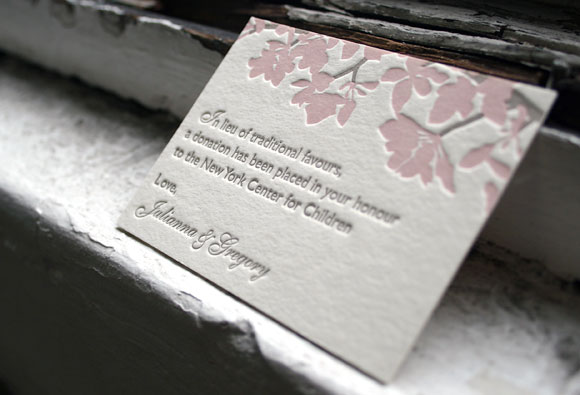 Letterpress favor card - cherry blossoms - Smock