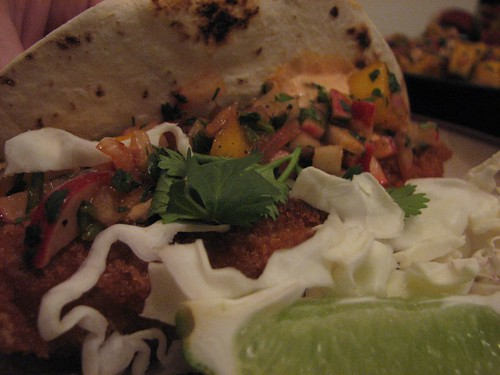 fish taco closeup