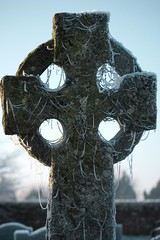 Ice draped grave cross