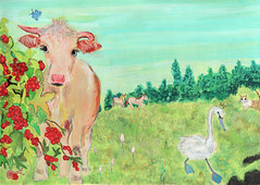Happy new year 2009 (Yoshiko Oouchi) Tags: new blue red horse art illustration cat butterfly fun happy cow blossom drawing year lovely  paints grassy