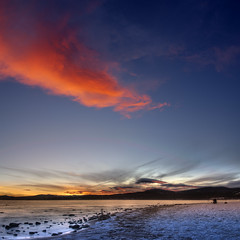 Tahoe Sunset 3 (combinatorial) Tags: california blue winter sunset panorama orange lake snow cold ice beach water vertical fingers tahoe hdr