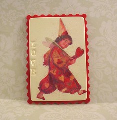 Valentine Red Clown Polymer Clay ACEO