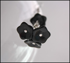 Jet Black Double Drop Cluster Czech Bell Flower Earrings (by tallybates)
