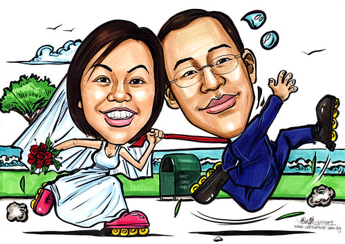Wedding couple caricatures roller blading A4