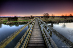 (Claire Hutton) Tags: wood uk bridge blue trees sunset england green water river countryside vanishingpoint purple footbridge horizon perspective wideangle dorset fields hdr ornage wimborne pamphill riverstour eyebridge flickrsbest 1exp singleraw ndgradfilter vosplusbellesphotos
