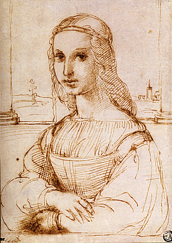 1506  Raphael    Portrait of a Lady  Pen and brown Ink   22,3x15,8 cm  Paris, musée du Louvre