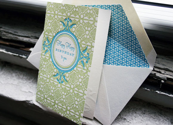 Letterpress happy birthday greeting card - by Smock