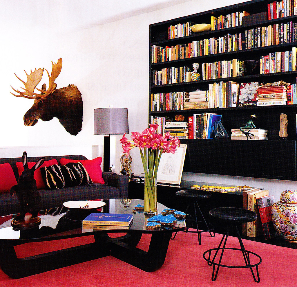black pink white living room