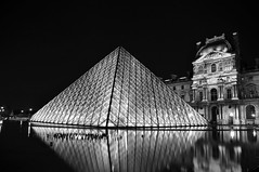 Louvre Pyramid b/w (colin grubbs) Tags: blackandwhite reflection glass museum night europe louvre landmark palace frqnce pqris nikond90 colingrubbs pyrqmid