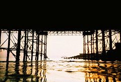 where has the sunshine gone? (lomokev) Tags: sea beach silhouette yellow lomo lca xpro lomography crossprocessed xprocess sand brighton low ground lomolca westpier groundlevel lomograph brightonpier ratseyeview deletetag lomographyxpro200 roll:name=110405lomolca200xpro file:name=110405lomolca200xpro00017