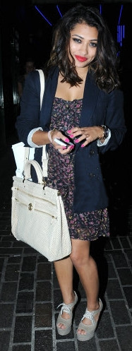 Vanessa White in MadamRage.com Navy Floral Dress 24.05.11