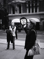 slutwalk #5 (mugley) Tags: road street city trees winter people urban blackandwhite bw signs film architecture 35mm buildings bag march store women album candid columns grain protest hats australia melbourne victoria scan crappycam negative jacket lp epson feminism hp5 cropped cbd 135 beanie beret slogan hermes ilford protesters awnings collinsst ilfordhp5plus 22mm v700 yesyes vivitarultrawideandslim wideslim eximus hivisvest eximuswideandslim slutwalk 28may2011 borkenrecord