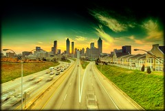 Day Before the Storm (sunsurfr) Tags: road city atlanta sunset skyline buildings georgia highway skyscrapers structure hdr