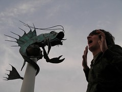its going to eat me (machernucha) Tags: sculpture fish statue big plymouth godzilla forcedperspective plymouthuk