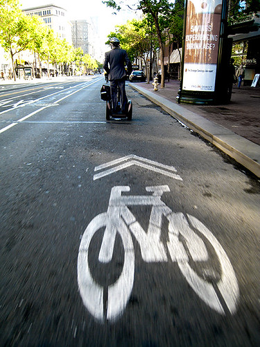Sagway in the bike lane