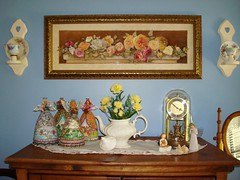Redecorating........... (turtlepatrol) Tags: clock angels teapot sconce redecorating shabbychic