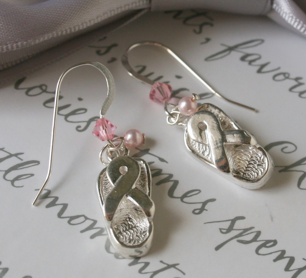 Breast Cancer 3-day walk earrings