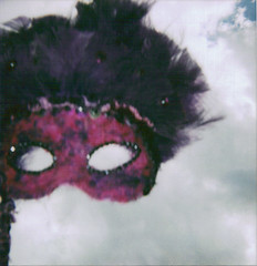 (ChristinaBrown) Tags: sky beautiful clouds polaroid cool eyes purple mask cam feathers 600 masquerade rinestones