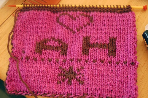 pink side of scarf