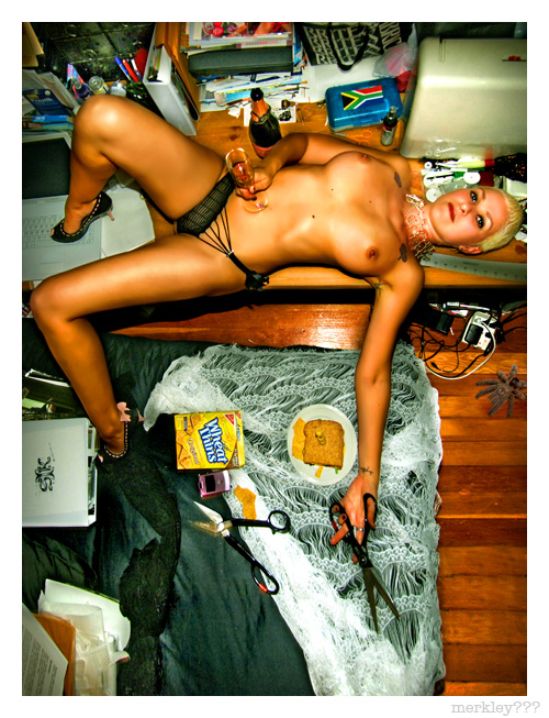 Belinda - Takes a Break in Asymmetrical Underpants with Scissors, Champagne, Spiders, Wheat Thins, a Sandwich and a Bunch of Other Crap You're Likely to Find in a Typical Bleach Blonde Buzz Cut South African Lingerie Designer's Bedroom Slash Design Studio