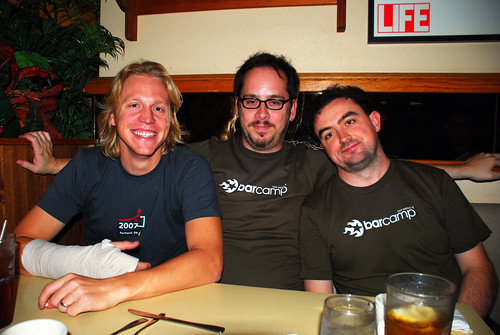 Ryan, Patrick, and myself, exhausted but happy after another successful BarCamp.