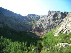 Versant Ghjarghjole : voie de descente