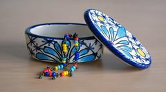 Mexican beauty bracelet (EtsyDivooneh) Tags: blue red summer yellow colorful aqua indigo vivid jewelry chain mexican bracelet etsy brass beaded divooneh