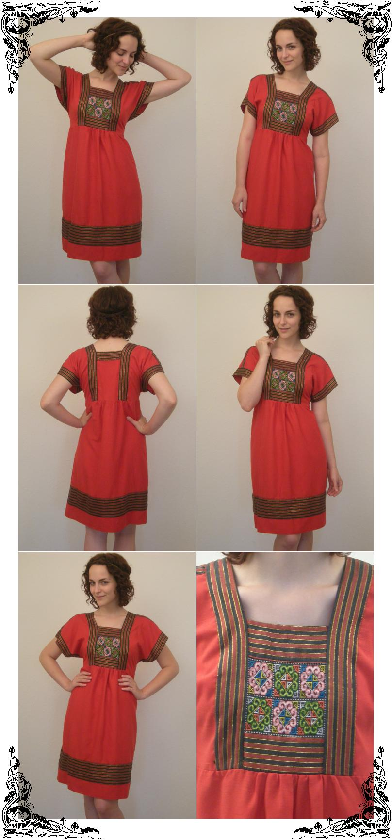 Vtg Red Hippie Babydoll Embroidered Ethnic Boho Dress M - eBay (item 200242844235 end time Aug-05-08 18:01:26 PDT)